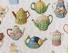 PIERRE FREY DECORATIVE TEA POTS COLLECTION FABRIC CREAM / OFF WHITE / MULTI