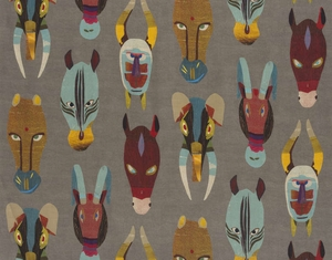 PIERRE FREY MARABOUT AFRICAN MASKS LINEN FABRIC MULTI