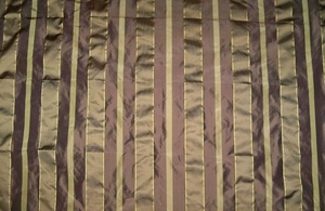 "PINDLER ""PASADENA"" SILK STRIPES FABRIC GODIVA & GOLD"