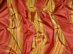 "PINDLER ""PIEDMONTE"" SATIN STRIPES SILK FABRIC PERSIMMONS"