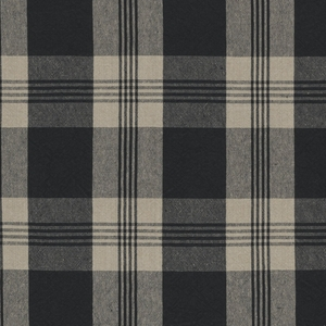 RALPH LAUREN  MILL POND PLAID CHECK FABRIC BLACK LINEN