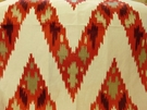ROBERT ALLEN BAHADUR FLAMESTICH LINEN EMBROIDERED FABRIC HENNA