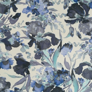 ROBERT ALLEN TWIN WATERS WATERCOLOR FLORAL COTTON LINEN PRINT FABRIC BATIK BLUE
