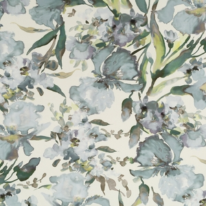 ROBERT ALLEN TWIN WATERS WATERCOLOR FLORAL COTTON LINEN PRINT FABRIC STERLING