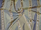 SAMPLE BARANZELLI SEABREEZE SATIN STRIPES SILK TAFFETA FABRIC PACIFIC BLUE