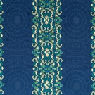 SAMPLE BEACON HILL AMMOLITE EMBLEMS EMBROIDERED FABRIC NAVY