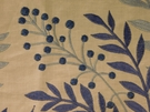 SAMPLE BEACON HILL CARNEGIE HILL FLORAL EMBROIDERED LINEN FABRIC INDIGO