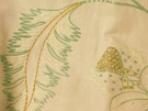 SAMPLE BEACON HILL FLEUR RAFFIA FLORAL EMBROIDERED LINEN FABRIC MINT