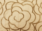 SAMPLE BEACON HILL MAGNOLIA PETAL FLORAL EMBROIDERED FABRIC BRASS