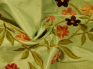 SAMPLE BEACON HILL PRIDMORE FLORAL SILK EMBROIDERED FABRIC CELADON WINE