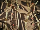 SAMPLE BEACON HILL ROBERT ALLEN SPRING BLOSSOM EMBROIDERED SILK DAMASK FABRIC 9 YARDS BROWN