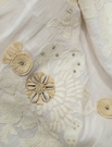 SAMPLE BEACON HILL SEA QUEEN NAUTICAL EMBROIDERY SEASHELL TASSELS BEADS SILK FABRIC TUSK