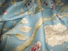 SAMPLE CLARENCE HOUSE CHINOISERIE BLOSSOMS BUTTERFLIES & BERRIES FABRIC BLUE