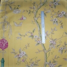 SAMPLE CLARENCE HOUSE CHINOISERIE BLOSSOMS BUTTERFLIES & BERRIES FABRIC YELLOW