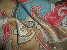 SAMPLE CLARENCE HOUSE ESMERALDA PAISLEY LINEN FABRIC ANTIQUE