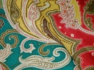 SAMPLE CLARENCE HOUSE ESMERALDA PAISLEY LINEN FABRIC PEACOCK