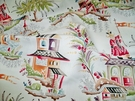SAMPLE CLARENCE HOUSE FRENCH CHINOISERIE PAGODAS TOILE LINEN FABRIC MULTI