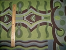 SAMPLE DESIGNER ABSTRACT ART DECO UPHOLSTERY FABRIC GREEN GRAY BROWN