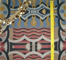 SAMPLE DESIGNER ABSTRACT ART DECO UPHOLSTERY FABRIC MULTI BLUE RED TAN BLACK