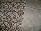 SAMPLE DESIGNER SILK LOOM ART NOVEAU GRANDEUR LUXURIOUS CUT VELVET FABRIC BROWN
