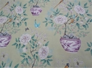 SAMPLE DESIGNER CHINOISERIE VASES PEONY BIRDS BUTTERFLIES TOILE FABRIC GOLD GREEN MULTI