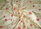 SAMPLE DESIGNER FLORAL VINES SOMMERSET EMBROIDERED SILK FABRIC 19 YARD BOLT BUTTERCREAM ROSE MULTI