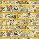 SAMPLE DESIGNER FRENCH COUNTRY ROOSTERS POTTERY COLLECTION FABRIC YELLOW