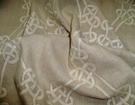 SAMPLE DESIGNER GORDIANA WEAVE EMBROIDERED LINEN FABRIC NATURAL (TAUPE) / CREAM