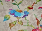 SAMPLE DESIGNER IDRIS FRENCH CHINOISERIE TOILE LILY FLORAL FABRIC CREAM MULTI