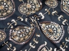 SAMPLE DESIGNER MEDINA EMBROIDERED SUZANI MEDALLION FABRIC BLACK