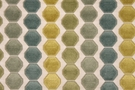 SAMPLE DESIGNER OCTAGON CUT VELVET FABRIC GOLD BLUE GREEN