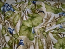 SAMPLE DESIGNER TROPICAL BLUE IRIS PRINTED DUPIONI SILK FABRIC 10.5 YARDS