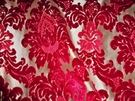 SAMPLE DESIGNER VALENTINA CUT VELVET DAMASK BROCADE FABRIC RUBY