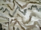 SAMPLE DONGHIA HOLLYWOOD EMBROIDERED ZIG ZAG SILK SATIN FABRIC WILSHIRE WHITE/ 5 YARD MIN.
