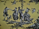 SAMPLE G P & J Baker THE SEASONS TOILE FABRIC YELLOW CHARCOAL