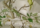 SAMPLE G P & J BAKER TREE PEONY BIRDS LINEN PRINT FABRIC IVORY CREAM SAND