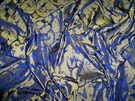 SAMPLE SILK LOOM INC MARSEILLE SILK DAMASK FABRIC BRASS ON NILE BLUE