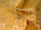 SAMPLE GP & J BAKER BLOSSOM SILK EMBROIDERED FABRIC GREY YELLOW