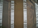 SAMPLE KOPLAVITCH BEAUVILLE SILK SATIN TAFFETA STRIPES FABRIC CREAM MOCHA 50 YARD BOLT