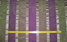 SAMPLE KOPLAVITCH BEAUVILLE SILK SATIN TAFFETA STRIPES FABRIC PURPLE GREEN BEIGE