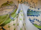 SAMPLE KRAVET COUTURE LEE JOFA FABERGE EGGS LINEN FABRIC BLUE GREEN MULTI