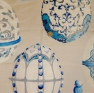 SAMPLE KRAVET COUTURE LEE JOFA FABERGE EGGS LINEN FABRIC BLUE MULTI