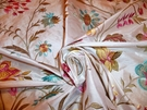"SAMPLE LEE JOFA, G. P. & J. BAKER ""GUINEVERE"" EMBROIDERED SILK FABRIC WHITE / PINK"