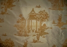 SAMPLE LEE JOFA KRAVET CHINOISERIE PAGODAS PRINTED SILK FABRIC 10.5 YARDS IRIDESCENT GOLD