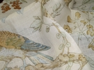 SAMPLE LEE JOFA KRAVET COLORFUL BIRDS TREES LINEN FABRIC GOLD