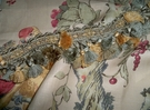 SAMPLE LEE JOFA KRAVET COLORFUL BIRDS TREES LINEN FABRIC INDIGO BEIGE