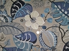 SAMPLE LEE JOFA KRAVET EMBROIDERED APPLIQUE FOLIAGE LINEN FABRIC BLUE TAUPE