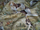 SAMPLE LEE JOFA KRAVET HOUNDS DOGS TOILE LINEN FABRIC CREAM GREEN BROWN MULTI