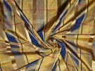 SAMPLE LEE JOFA KRAVET IRIDESCENT CHECK SATIN SILK TAFFETA FABRIC 17 YARDS GOLD BLUE
