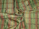 SAMPLE LEE JOFA KRAVET SATIN CORD STRIPES CHECK SILK TAFFETA FABRIC GREEN RED GOLD